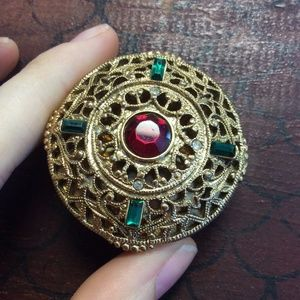 Vintage Golden Filligree Ornate Pill Box