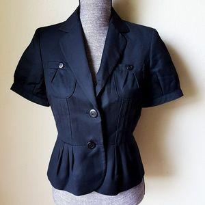 Nine West Short Sleeve Button Up Black Suit Blazer