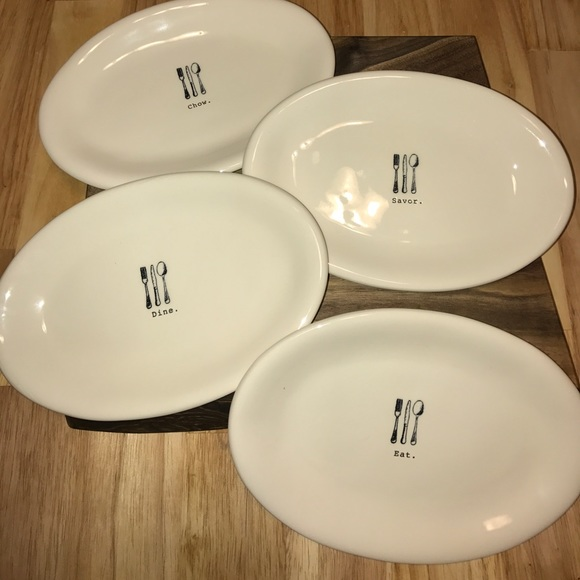 Rae Dunn Small Oval Plates - set of 4 & Rae Dunn Other Small Oval Plates Set Of 4 | Poshmark