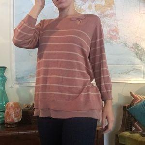 Lauren Conrad Mauve Striped Sweater With Bow