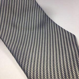 Giorgio Armani Black & White Herringbone Silk Tie