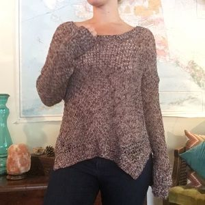 Roxy Maroon and Cream Loose Knit Sweater