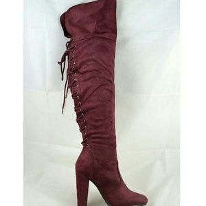 Shoes - Burgundy Back Lace Up Over the Knees Boots