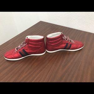 048dd45a3d3 Gucci Shoes - GUCCI Red Glitter Web High Tops