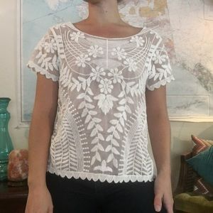 CCO🎀Beautiful Sheer White Floral Lace Top