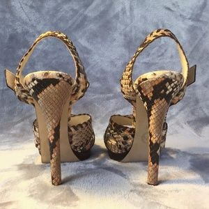 1102653f86ad Michael Kors Shoes - MICHAEL KORS Odessa Python Stiletto Sandals