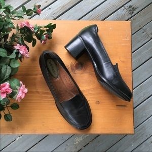 Hush Puppies Black Slip On Heeled Loafers Size 7