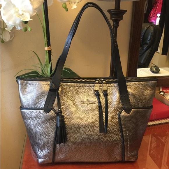 d2ead4bc3b Cole Haan Handbags - Cole Haan Silver Metallic Leather Tote Bag