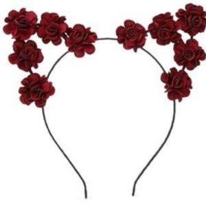 selling cute burgundy floral cat ears headband
