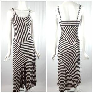 Monteau Cream & Black Striped Maxi Dress Small