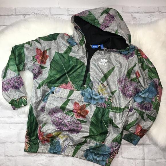Adidas Training Floral Print Half Zip Jacket