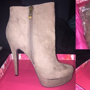 Chinese Laundry suede bootie heels