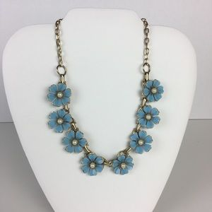 Jewelry - Vintage blue flower necklace gold pearls 1950 1960