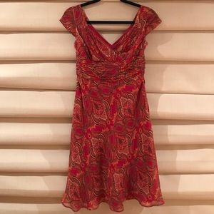 Ann Taylor Petite Dress 0P red with Floral Print