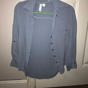 Light blue button down blouse