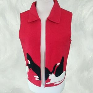 VINTAGE Retro Red Wool Vest with Kittens Playing