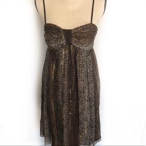 Nicole Miller Silk & Metallic Leopard Print Dress