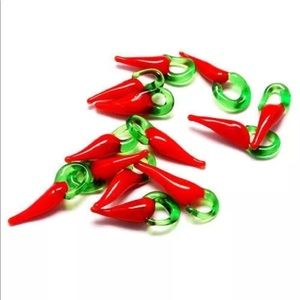 Accessories - Set of 10 piece red chili pepper charms