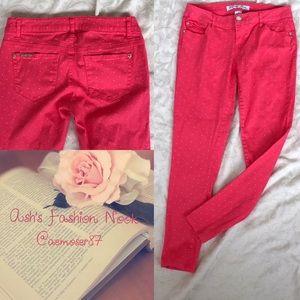 Celebrity Pink-Pink Polka Dot Jeggings