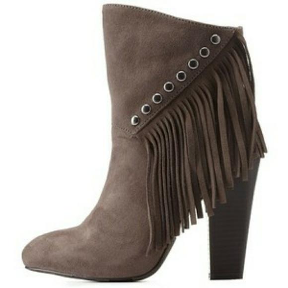 Charlotte Russe Shoes - Charlotte Russe grey studded fringe bootie