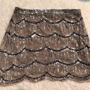 F21 sequin scallop silver skirt nude glitter bead