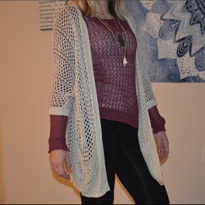 Cream Knitted Slouchy Cardigan with 2 Pockets