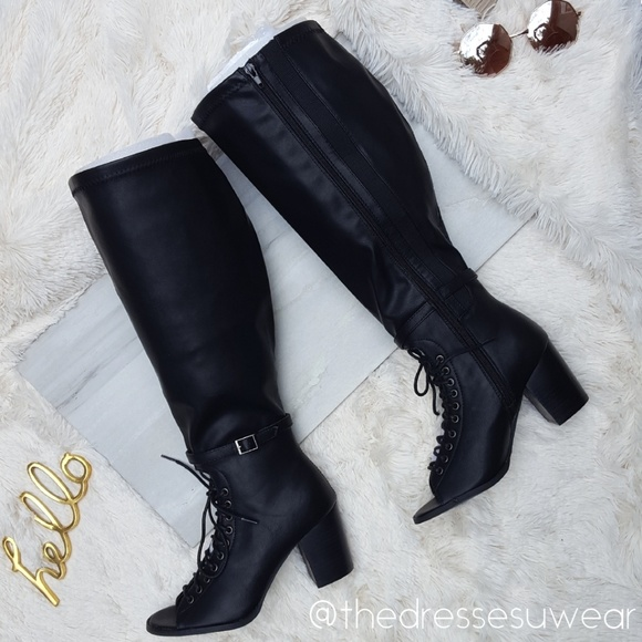 a11f1b9cf6df Torrid Sexy Lace Up Peep Toe Block Heel Boots.
