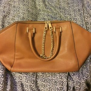 Express brown faux leather hand bag