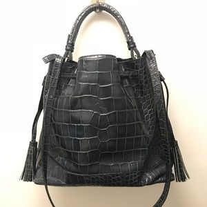 Zara - leather croc embossed bucket bag