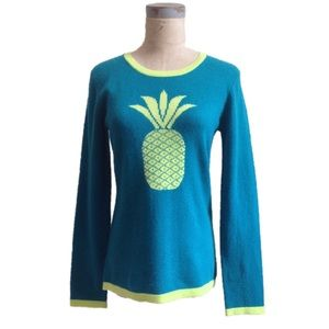 Pineapple Graphic Intarsia Cashmere Knit Sweater M