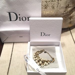 Dior Multi Strand Gold And White Pearls Bracelet