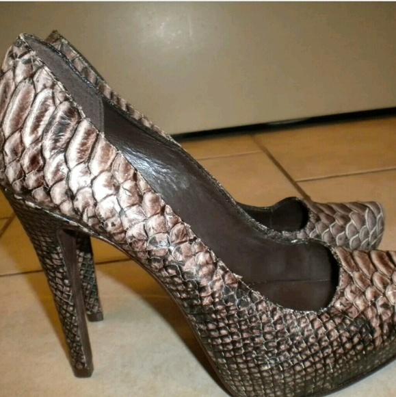 8da5afe149ca Aldo Shoes - ALDO BROWN BLACK SNAKESKIN LEATHER PUMPS 39 US 8.5