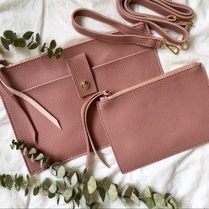 NWT Mauve Vegan Leather Crossbody Bag