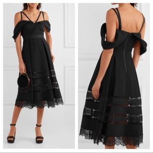 Self-Portrait Black Cold Shoulder Midi Dress