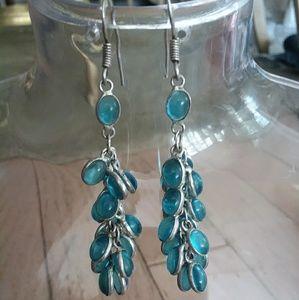 Jewelry - Sterling silver earrings Crystal Blue Stone DANGLE