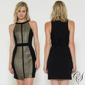 9998b658554 Dresses   Skirts - Cara Black Gold Metallic Ponte Sheath Dress