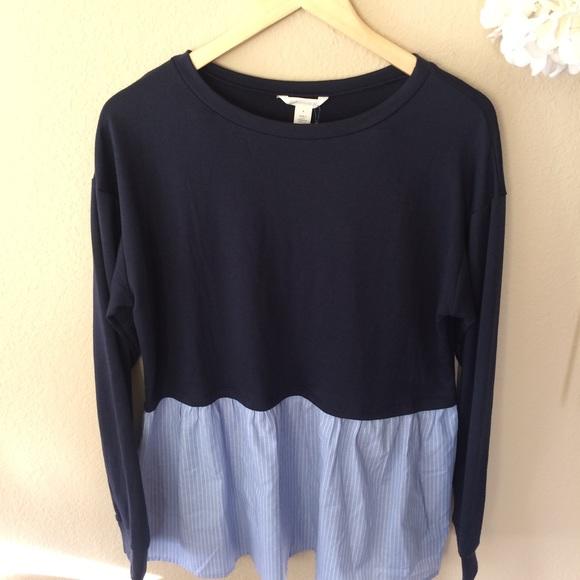 719e9cae Caslon Sweaters   Poplin Peplum Hem Sweatshirt   Poshmark