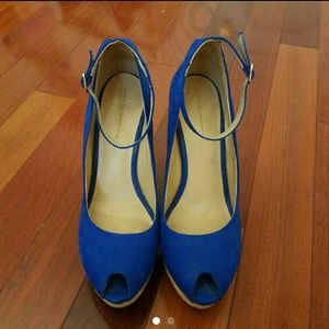 Zara cobalt blue Suede wedges