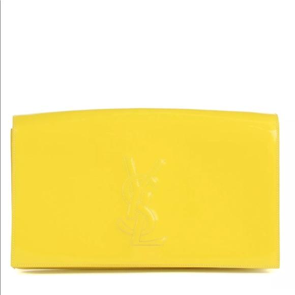 ed0f215b77137 YSL - Yellow Patent Leather Belle de Jour Clutch