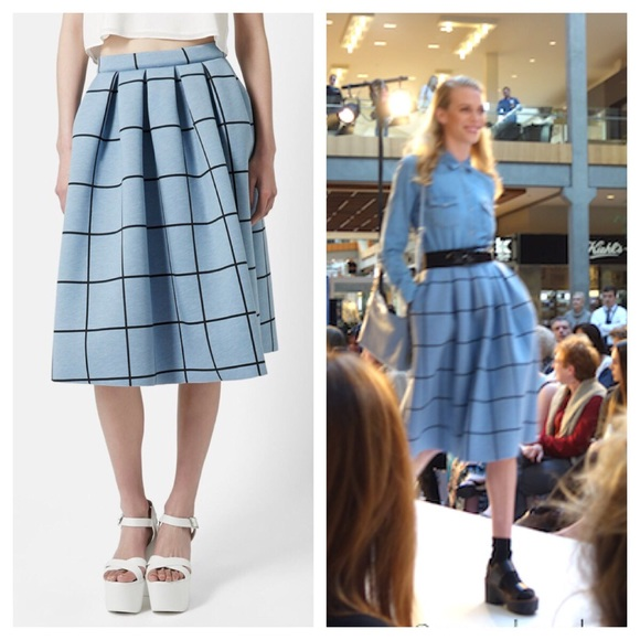 dd5861a30c Topshop Skirts | Neoprene Blue Windowpane Midi Skirt | Poshmark