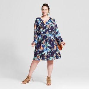 Plus Size Long Sleeve Dress Blue Floral Ava & Viv