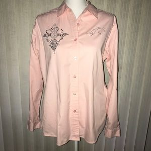 Port Authority Pink Rhinestone Button Up Shirt