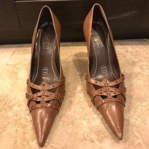 Brown studded heels