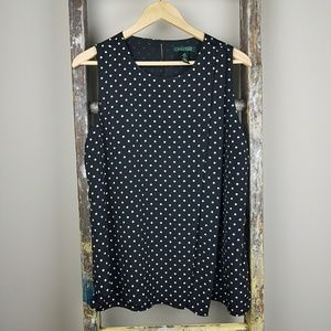 Ralph Lauren Black with White Polka Dots Shell