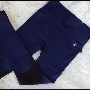 Pants - Navy blue Mesh High Waist Workout Leggings
