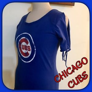 98b5553bb8eda8 Touch by Alyssa Milano Tops - CHICAGO CUBS Blue Cold Shoulder Top