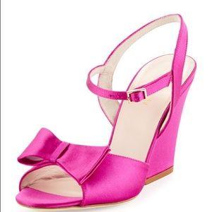 Kate Spade Imari Pink Bow Wedge Sandals