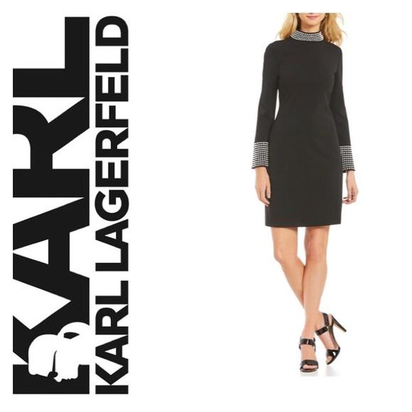 Karl Lagerfeld Dresses Paris Pearl Trimmed Mockneck Dress Poshmark