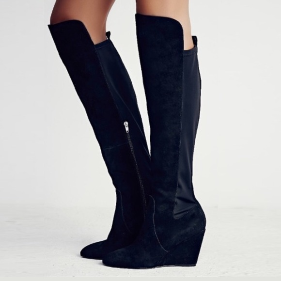 d332fde762d FREE PEOPLE Salina Over the Knee Wedge BOOTS Black