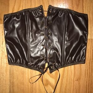 Other - NWOT Brown Pleather Ribbon tie Corset